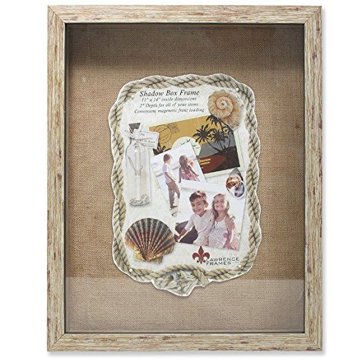 Lawrence Frames Weathered Front Hinged Shadow Box Frame With Burlap
