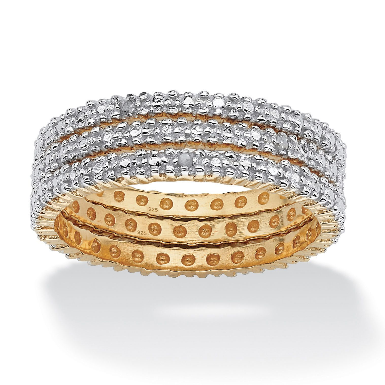 Palm Beach Jewelry PalmBeach 3 Piece Diamond Accented Eternity Band Set in 18k Gold over Sterling Silver