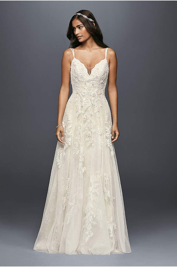 Scalloped A Line Wedding Dress With Double Straps Liqued Pearl Centered Blush Flowers This Bodice Gown