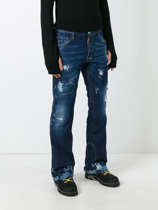 6dfe6ee9 Dsquared2 Ski Distressed Flared Jeans Navy Men #jeans #men #fashion  #lifestyle #