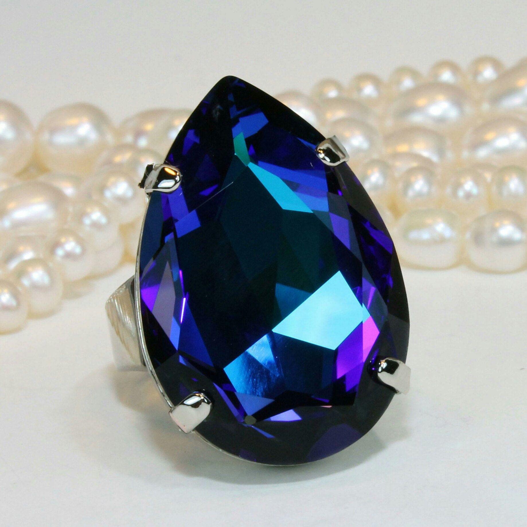 Royal Blue Crystal Ring Bridal Oversize Teardrop Large Big