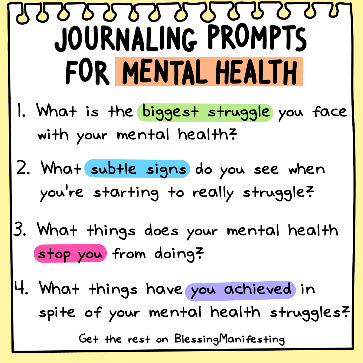 12 Journaling Prompts for Mental Health - Blessing Manifesting