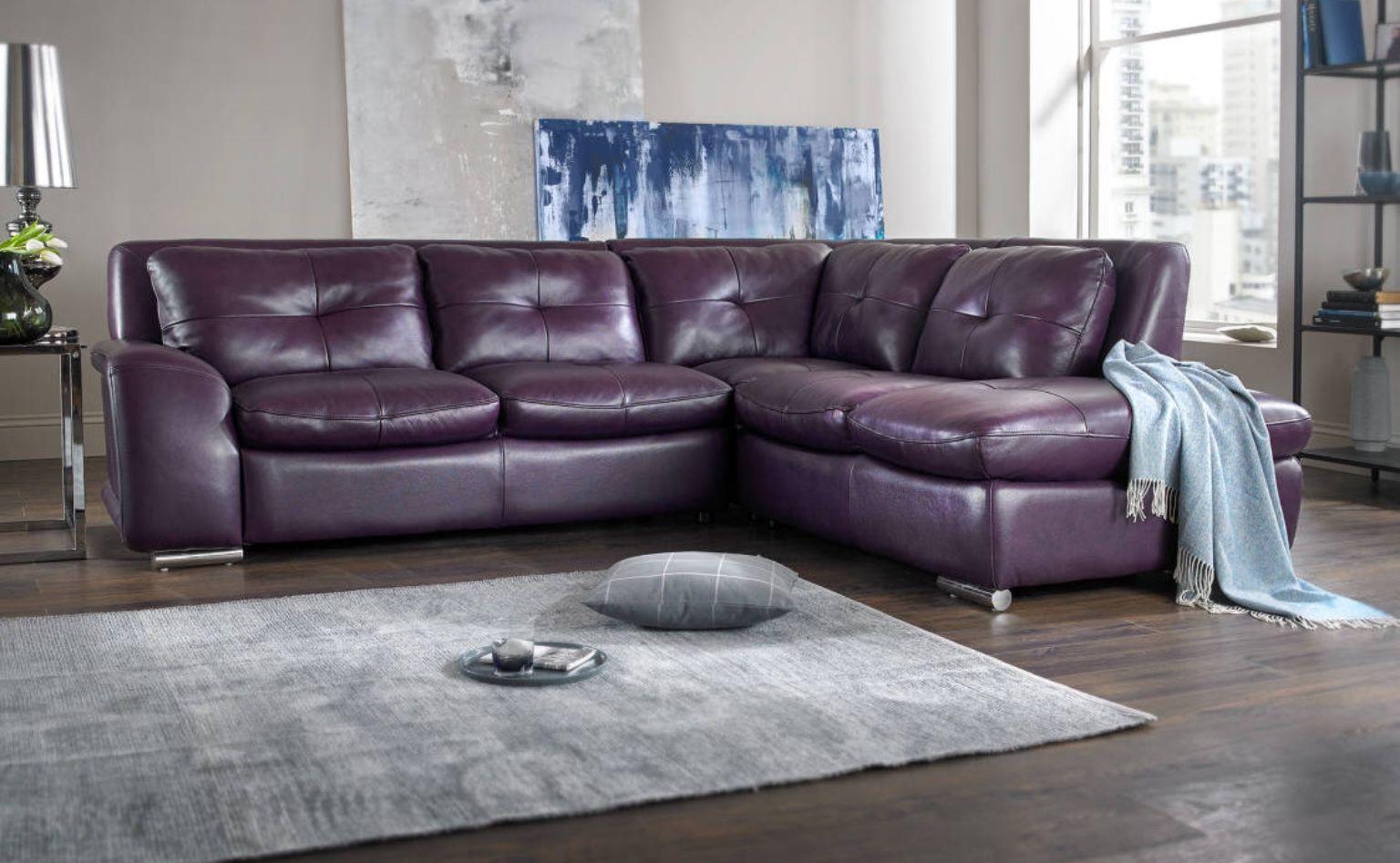 Sofology Felice Sofa In Damson With Grey Interior Leather Sofa