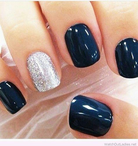 Navy and silver Christmas nail art | Mani and Pedi | Pinterest ...