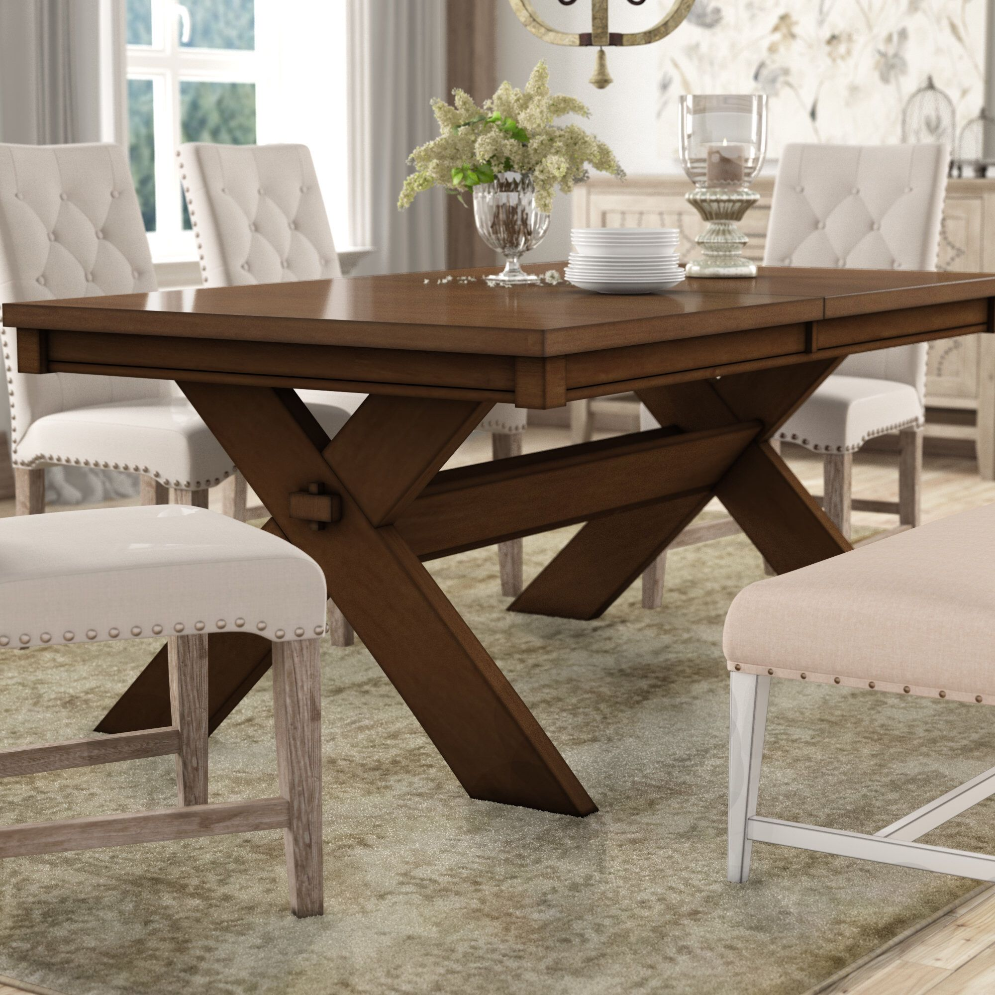 Isabell Acacia Butterfly Leaf Extendable Solid Wood Dining