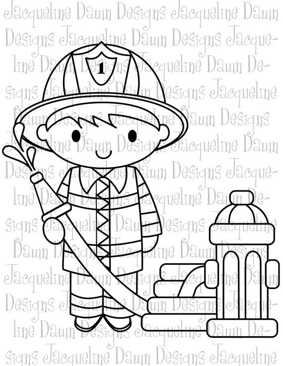 Digital Stamp Firefighter and hydrant by paperaddictions on Etsy ...