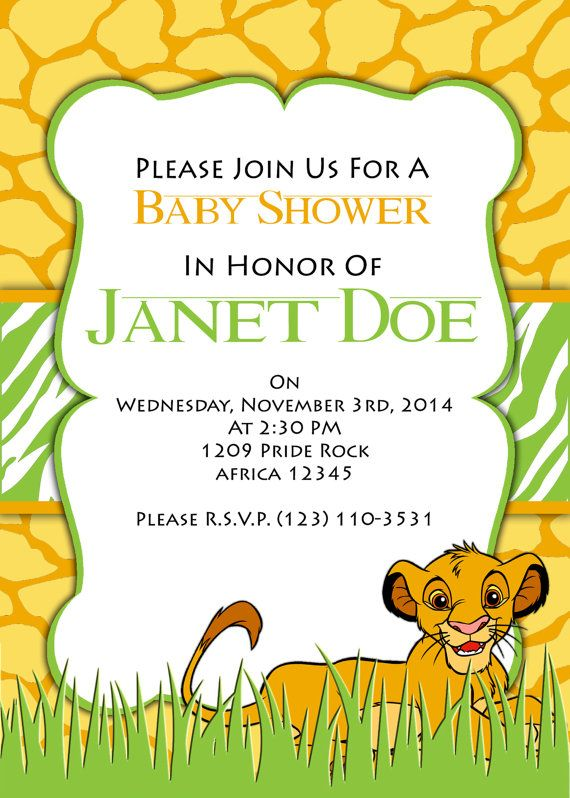 PRINTABLE INVITATION Lion King Baby Shower Invitation on Etsy