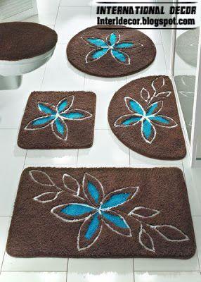 Brown Bathroom Carpet With Turquoise Flower Brown Baths Rug