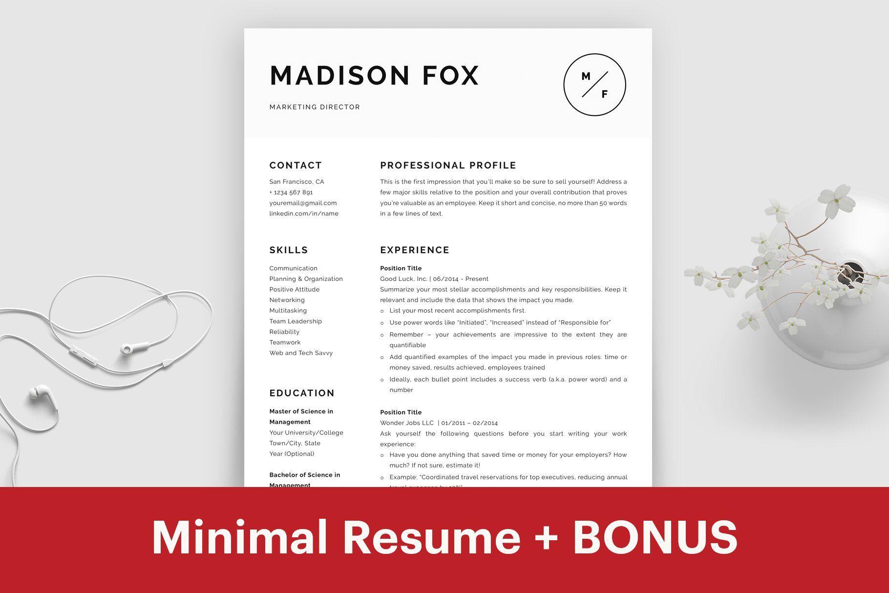 Minimal Resume Template Word Minimal CV Template for Mac