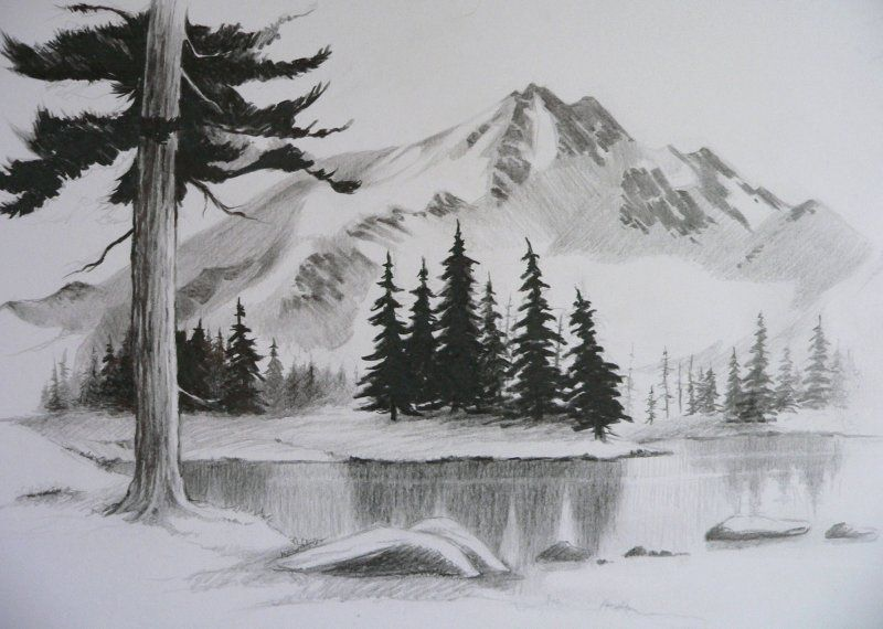 Easy pencil drawings of landscapes google search for Example of landscape drawing