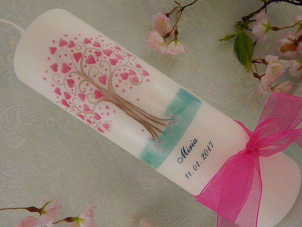 Patenkerze Lebensbaum rosa silber Mädchen 2 Stück 160x60 mm