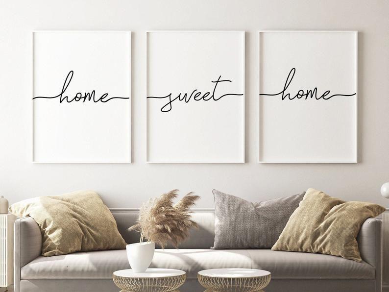 home sweet home print wall art set of 3,wall decor living room modern,Scandinavian minimalist,gallery wall printable,hallway print download