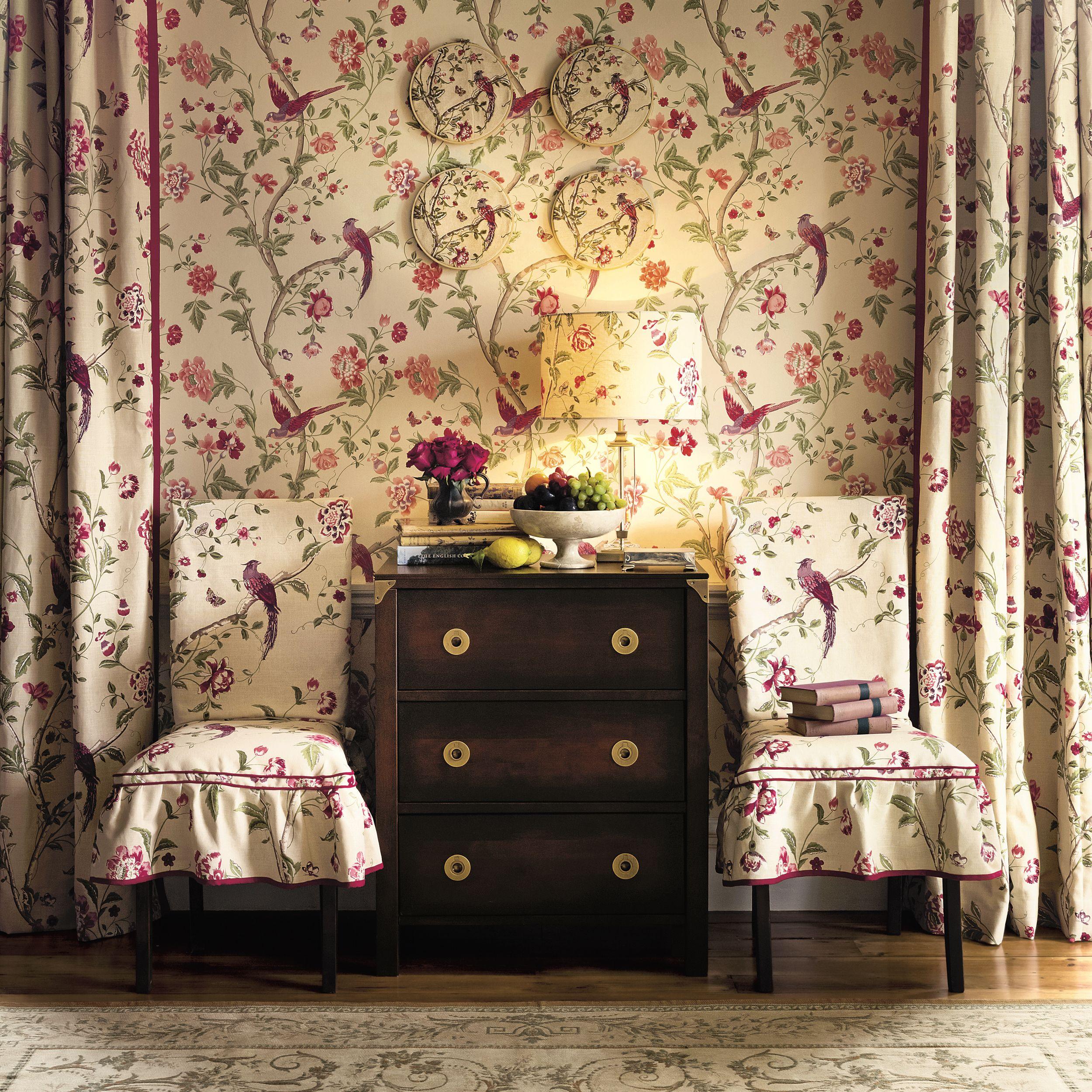 Summer Palace Cranberry Wallpaper Home Organisation