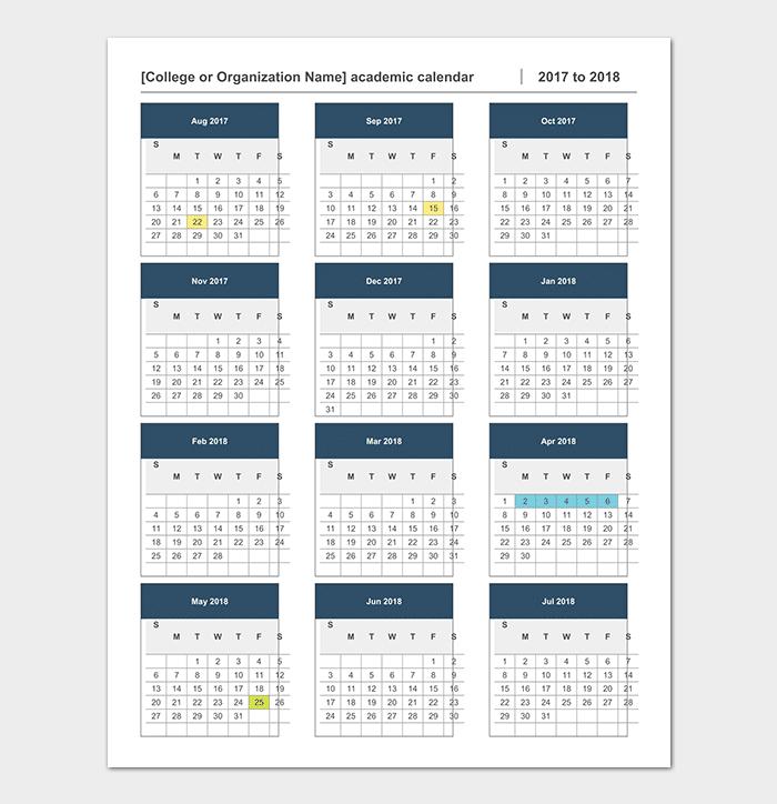 Academic Calendar  Calendar Templates   Printable