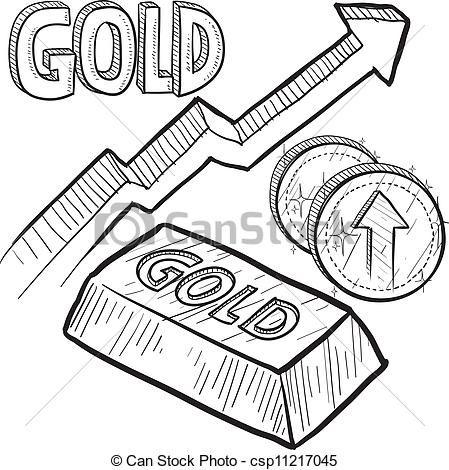 Vector. Lingote y monedas de oro en aumento, Bosquejo. Para colorear ...