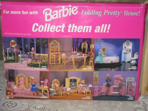Vtg BARBIE Doll LIVING ROOM Furniture Playset - Folding Pretty House ...