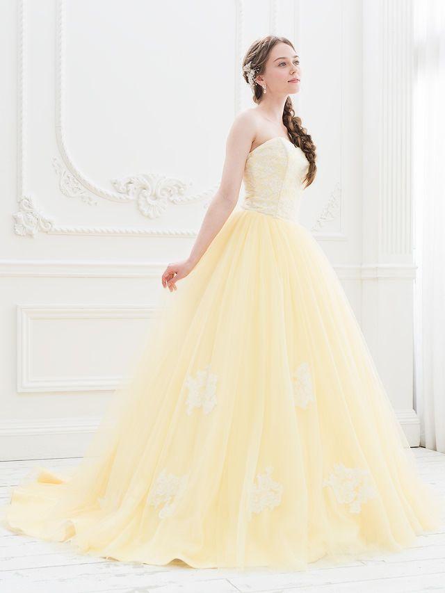 af451f70ba252 イエローカラーのカラードレス 黄色のカラードレス レース チュール|SS0884YE