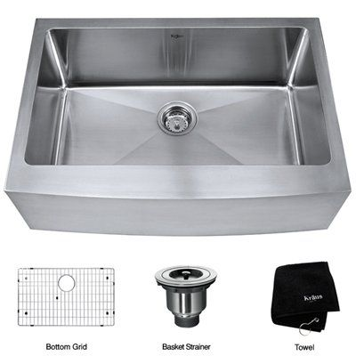 Kraus Khf200 30 Farmhouse Single Bowl Apron Kitchen Sink Stainless Steel Fixture Universe Sink Steel Kitchen Sink Stainless Steel Kitchen