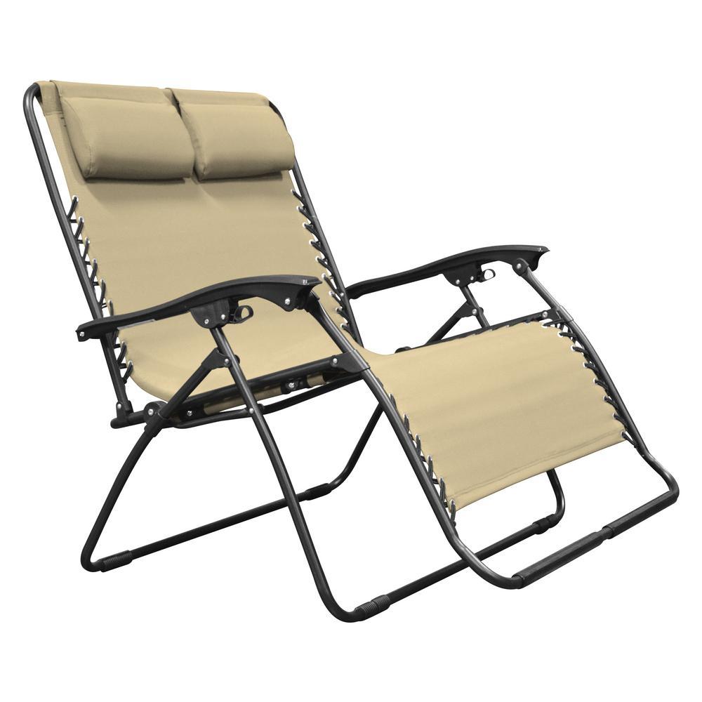 cf8625bee7 Caravan Sports Infinity Love Seat Beige Metal Textilene Reclining ...