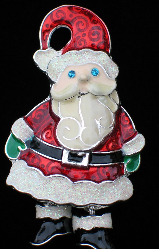 """HAPPY FUN BLUE EYES MERRY CHRISTMAS SANTA CLAUS ELF PIN BROOCH 2"""" DANGLING BOOTS #Unbranded #PINBROOCHJEWELRY"""