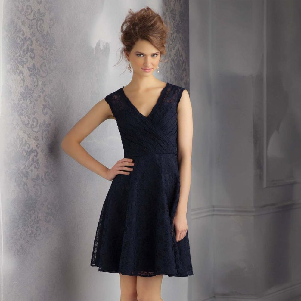 Click to buy ucuc navy blue vneck pleated lace short bridesmaid