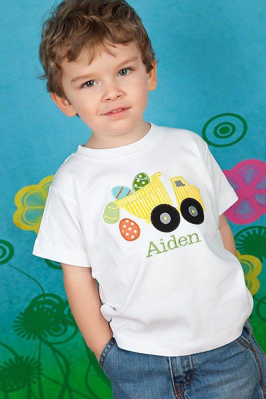 look @susiebarnett ,,,,,,,,,,,,Boys Monogrammed Easter Shirt, Dump Truck, Boys Easter Shirt. $24.00, via Etsy.