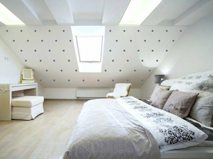 Charmant Schlafzimmer Einrichten Schöne Tapete Und Weiße Wände