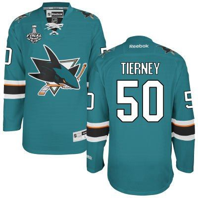 Men's San Jose Sharks #50 Chris Tierney Teal Blue 2016 Stanley Cup Home NHL  Finals
