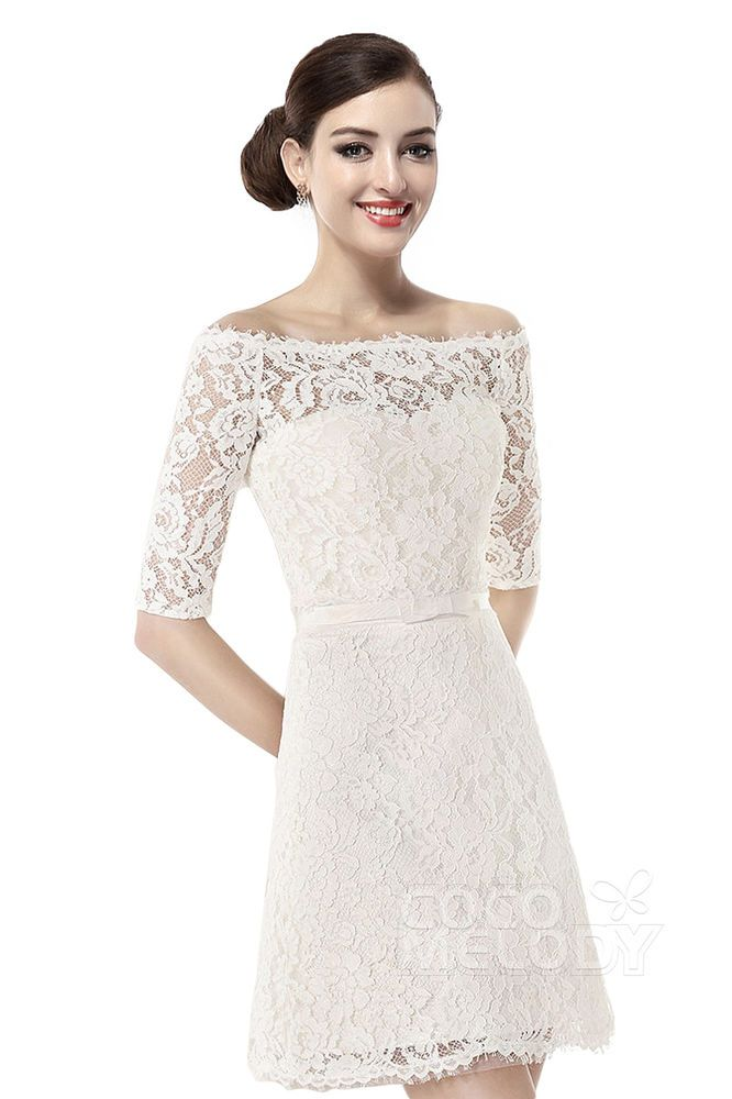 Halbarm Spitze Kurz Brautkleid Hochzeitskleid weiss/elfenbein 34 36 ...