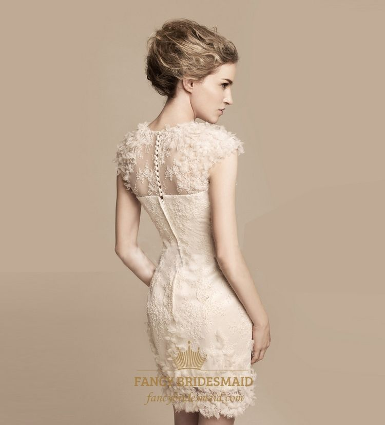 40efbc5bdf6 Short Ivory Lace Wedding Dress