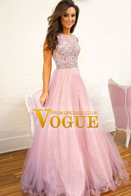 2015 Scoop Prom Dresses Beaded Lace Bodice A Line Tulle ...