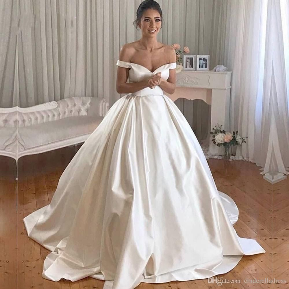 Vintage Lace Ball Gown Wedding Dresses 2019 Simple Plus Size White Off The Shoulder Buttons Back Ivory Draped Satin Bridal Gowns Custom Made Princess Ball Gowns Satin Bridal Gowns Royal Wedding