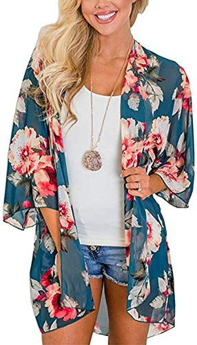 43c05cb775 New Yirind Womens Floral Chiffon Beach Cover Up Kimono Cardigans Loose Bell  Sleeve Blouse Tops. Womens Swimsuits [$26.99] from top store newtopgoods