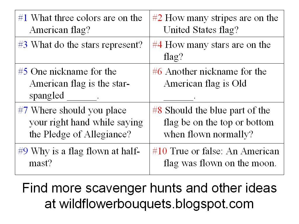 American Flag Scavenger Hunt Questions Backyard