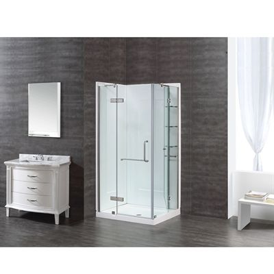 e3078579910 Ove 40-in W x 74-in H Savannah Brushed Nickel Rectangle 5-Piece Corner  Shower Kit