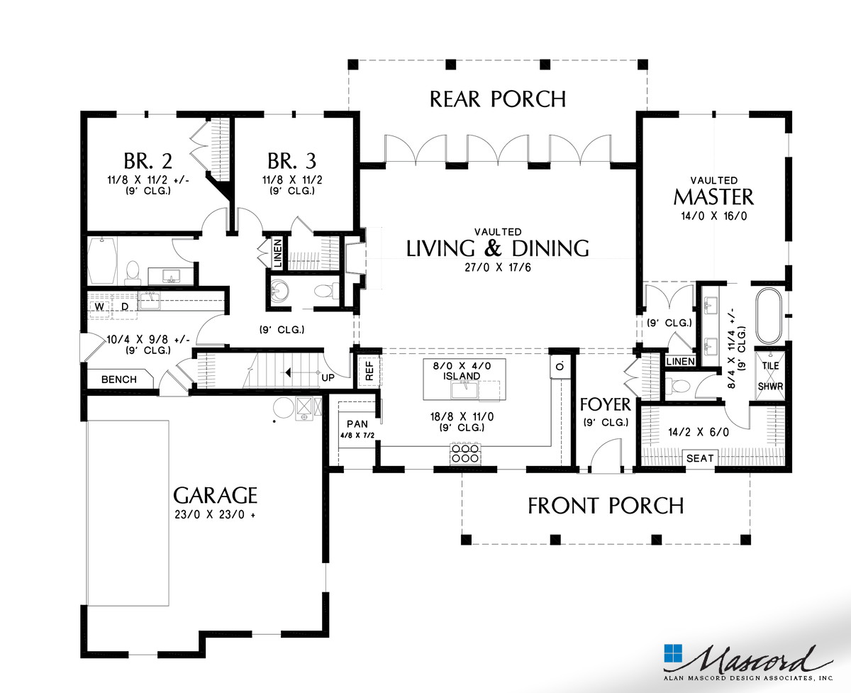 Mascord House Plan 21151a The Cary Main Floor Plan Contemporary House Plans House Plans Farmhouse Style House