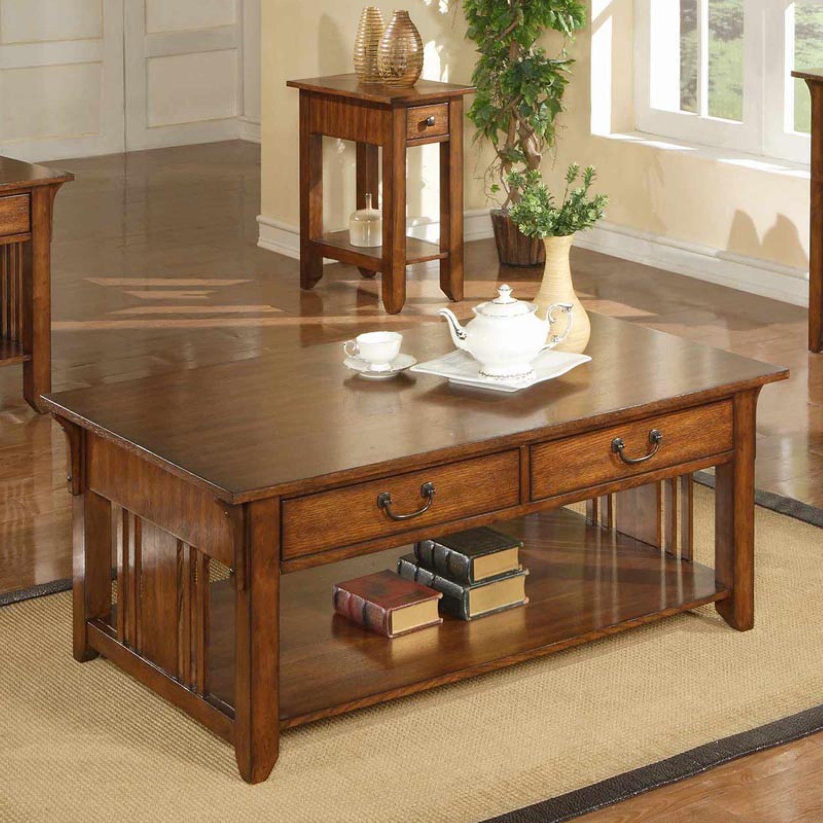Zahara 2 Drawer Coffee Table Mission Oak Coffee Table Coffee Table End Table Set Round Coffee Table Living Room [ 1600 x 1600 Pixel ]