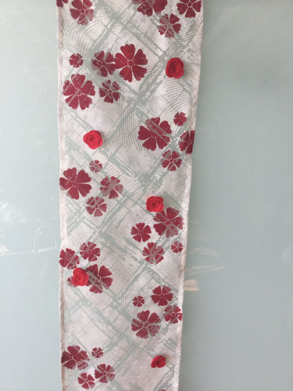 Hand Stencilled Silk/Linen Scarf with Felt Rose Detail by UlricDesign on Etsy