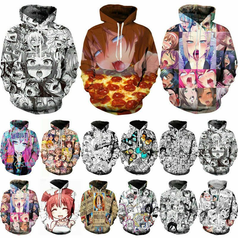 Ahegao Funny Anime Art 3D Printed Women Men/'s Pullover Hoodie Jumper Tops