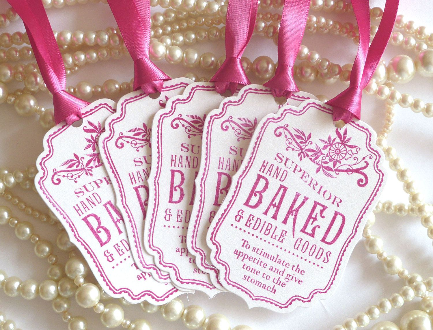 Baked Good Tags, Pink Wedding Favors, Fuchsia Pink Tags, Food Labels ...