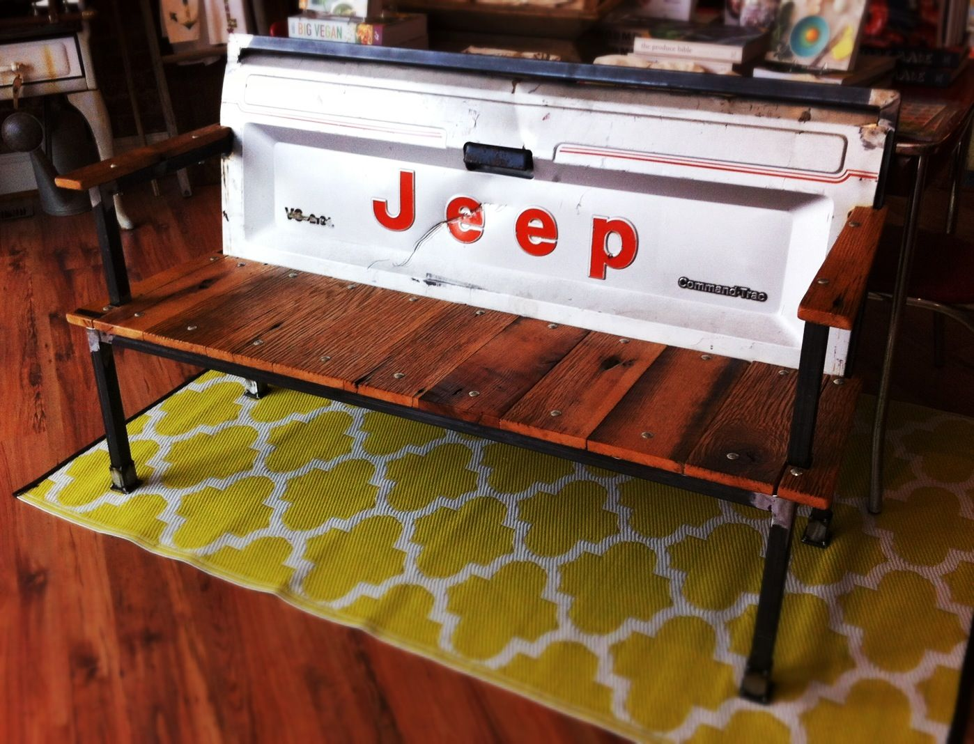 1990 39 s jeep comanche blue collar bench from yesterday for Muebles industriales usados