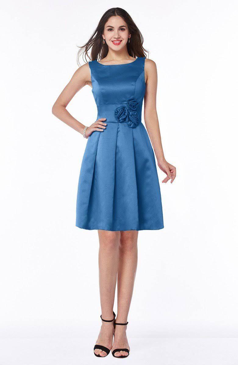 Campanula Plain Sleeveless Zip up Satin Flower Bridesmaid Dresses ...