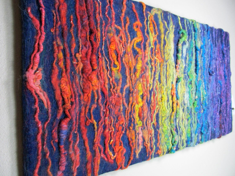 Sale Rainbow Family Felted Fiber Art Wall Hanging Picture Painting Wet Felt Fiber Art Wall Hanging Fiber Wall Art Fiber Art