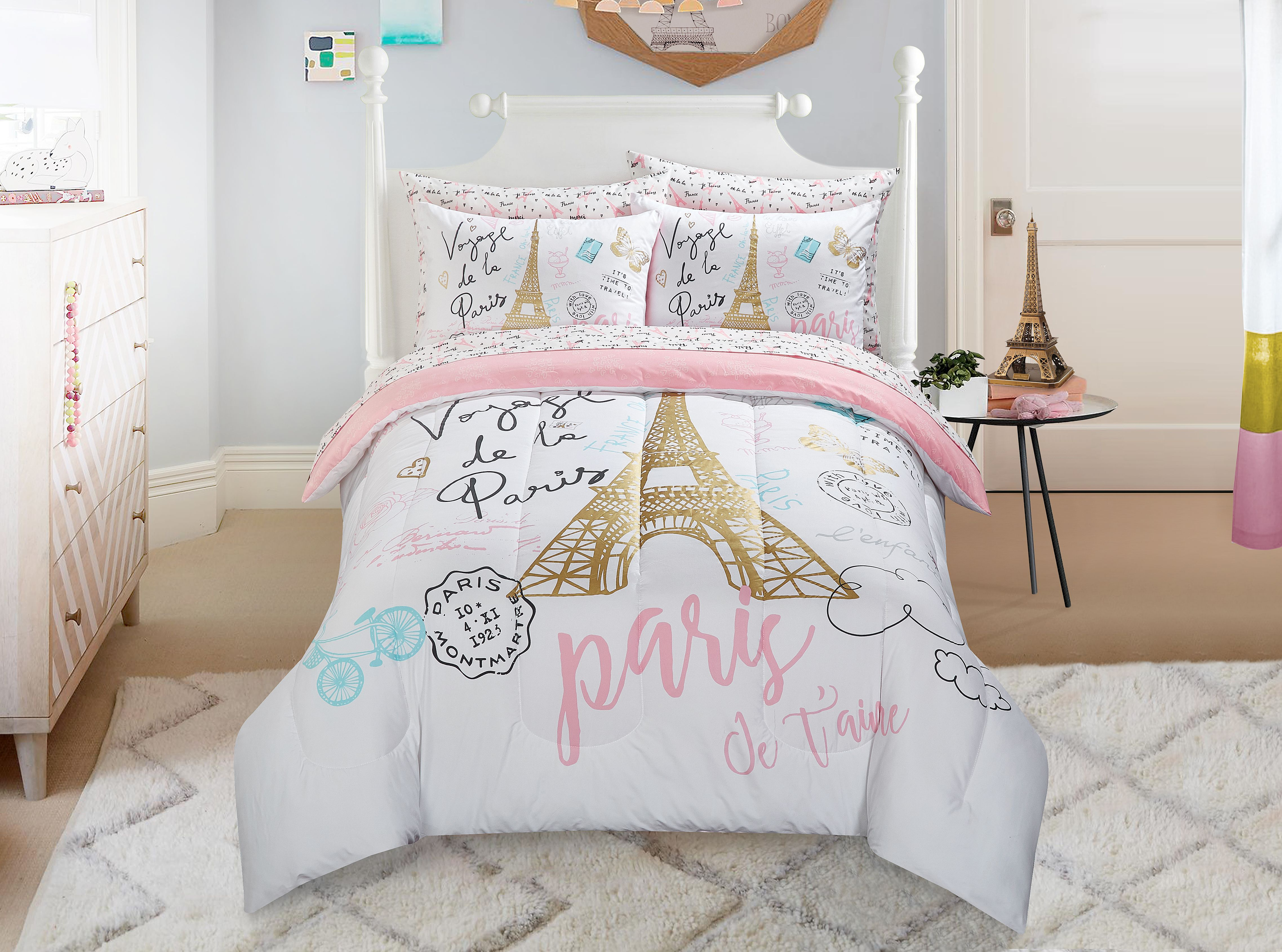 Mainstays Kids Paris Bed in a Bag Bedding w/ Reversible