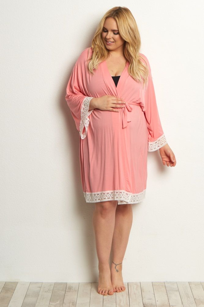 bdc385e62a7 A solid plus delivery nursing maternity robe to make sure your visit during  and after the hospital is comfortable and stylish. This robe will make you  feel ...