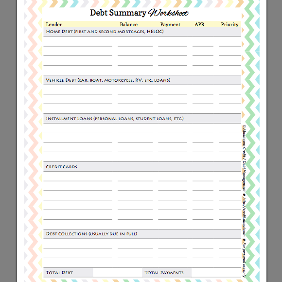 Worksheets Debt Worksheets free debt summary worksheet for organizing and prioritizing your debts