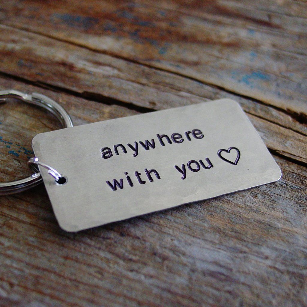 Anywhere with you keychain going away gift long distance for Going away gifts for boyfriend