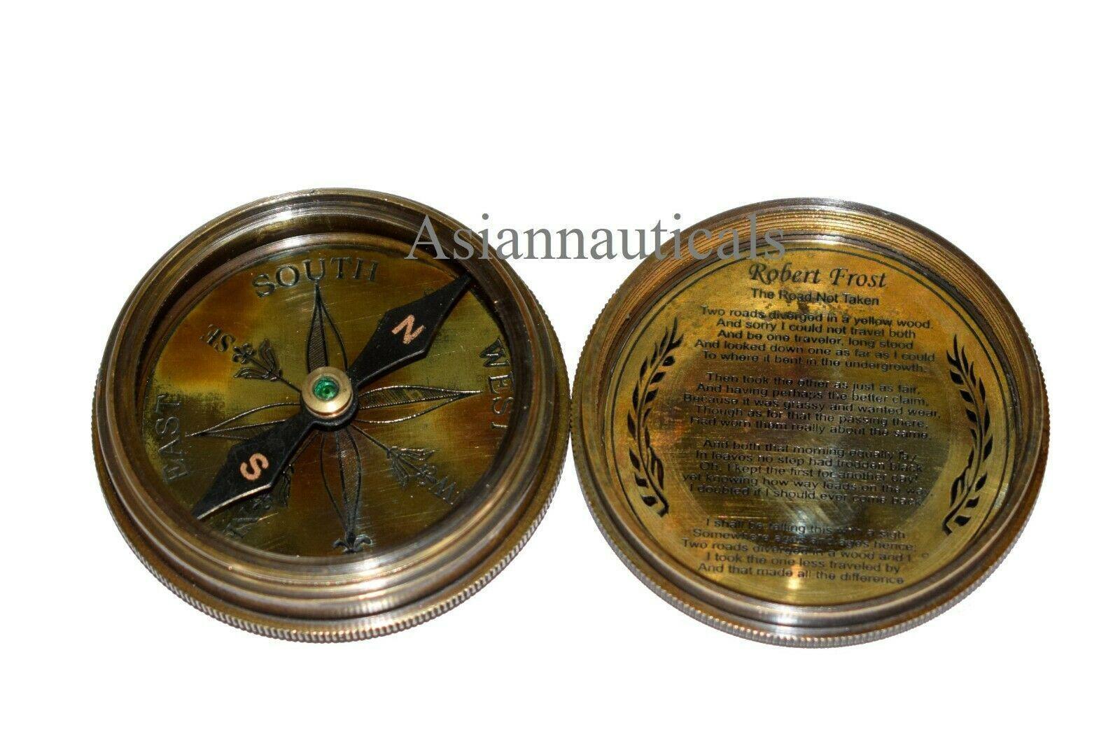 Marine Antique Vintage Brass Nautical Pocket Compass Decor Gift