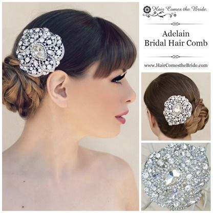 """Large Vintage Rhinestone Bridal Comb """"Adelain"""" by Hair Comes the Bride ~ #bridalhairaccessories #weddinghairaccessories #bridalcomb #weddingcomb #bridalhaircomb #weddinghaircomb #vintagehaircomb"""