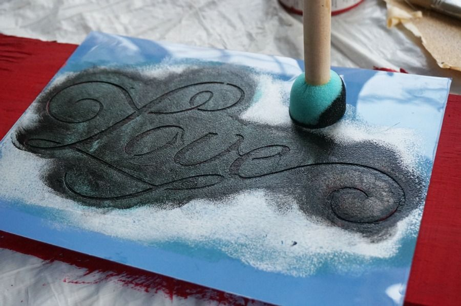Stenciling a wood sign